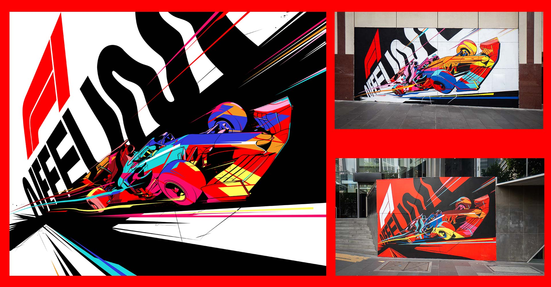 Formula 1 mural artworks by Ben Hasler